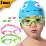 Kids Swim Goggles 2 Pack (OR Silicone Swim Caps 2 Pack) Crystal Clear Swimming Goggles for Children and Teenagers